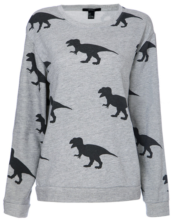 sweater grey Dinosaur print