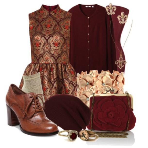 dress burgundy dress maroon and gold