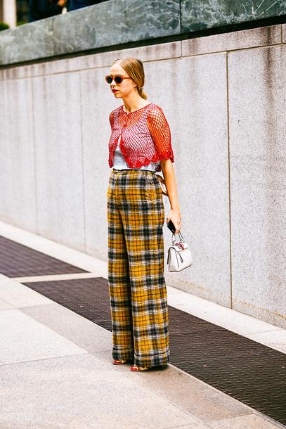 pants yellow yellow pants plaid plaid pants top streetstyle sunglasses bag mini bag handbag