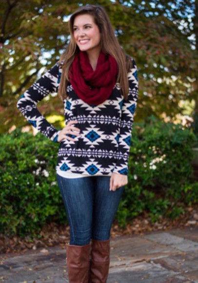 tribal pattern sweater white blue black winter sweater winter outfits scarf