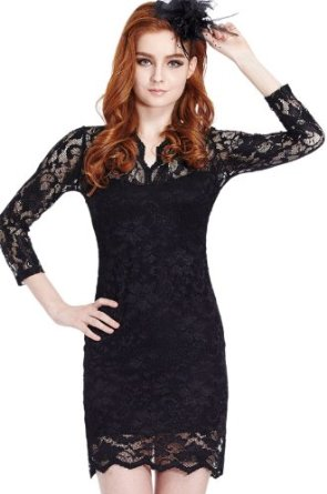 Amazon.com: Sheinside Women's Sexy Black Vintage Lace Fitted Dress A-line Skirt: Clothing