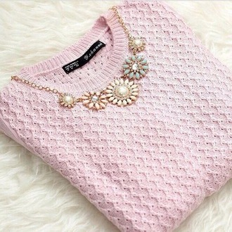 sweater pink sweater necklace statement necklace knitwear