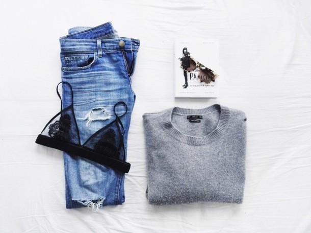 swimwear bra underwear sweater jeans grey sunglasses ripped jeans mom jeans baggy jeans