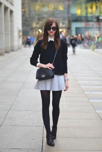 vogue haus blogger skirt bag sunglasses preppy mini skirt skater skirt pullover