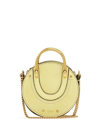 cross mini bag leather suede light yellow
