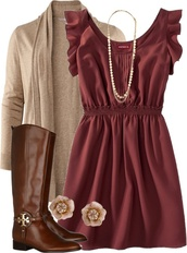 dress,boots,necklace,cardigan,red,blouse,boho,chic,burgundy,casual,mini dress