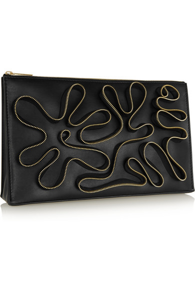 Embellished faux leather clutch