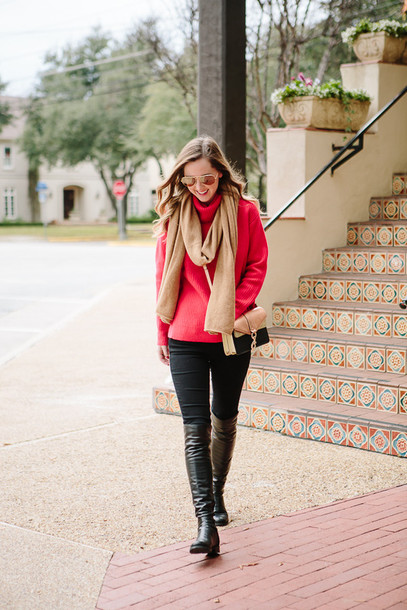 side smile style blogger sweater scarf shoes