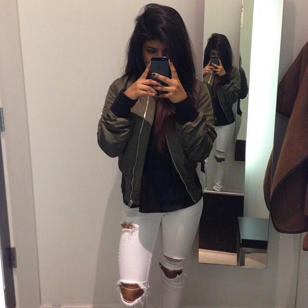 jacket dark green bomber jacket green jacket green khaki ripped jeans white jeans white jeans ripped