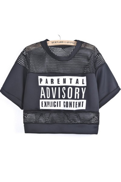 KCLOTH Women's Contrast Hollow Mesh Yoke Letters Print Top in Black