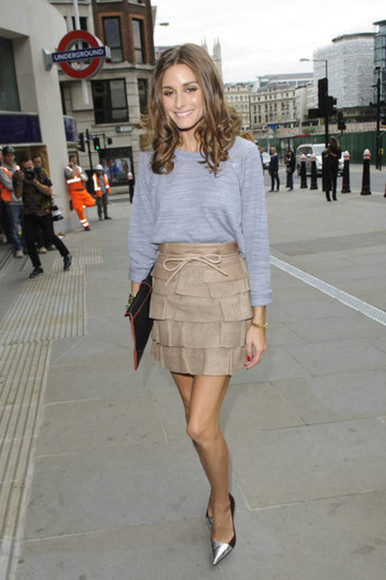 sweater skirt olivia palermo bleu beautiful blue sweater underground