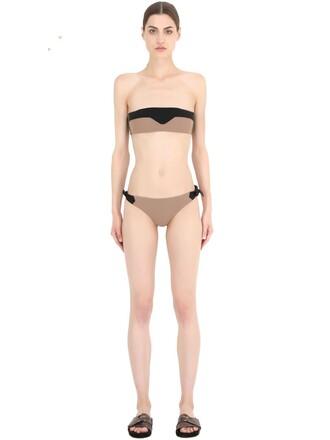 bikini bandeau bikini black beige grey swimwear
