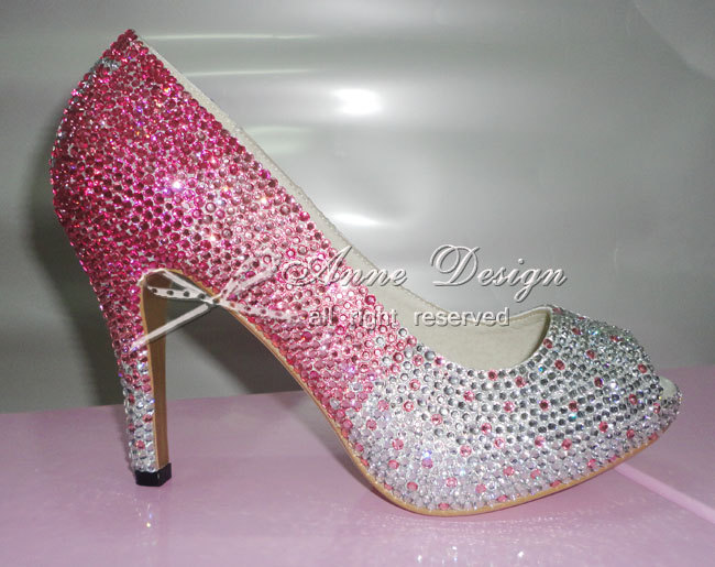 hot pink kristall hochzeit schuhe bling high heels strass. Black Bedroom Furniture Sets. Home Design Ideas