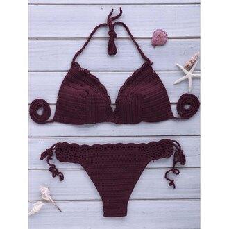 swimwear crochet purple fashion style trendy hot sexy rose wholesale-ma burgundy bikini summer beach trendsgal.com