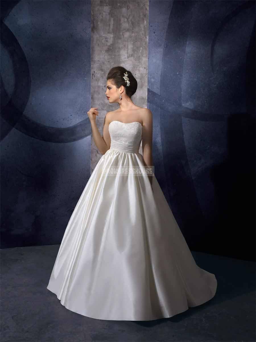 Ruched brush train timeless natural waist strapless wedding dress