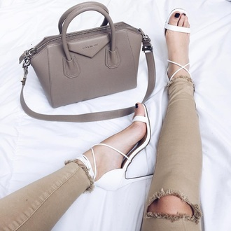 jeans nude all nude everything givenchy givenchy bag antigona givenchy antigona bag nude bag sandal heels sandals strappy sandals pants nude pants destroyed skinny jeans shoes white white shoes white sandals