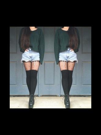 leggings black high knee socks romper pants
