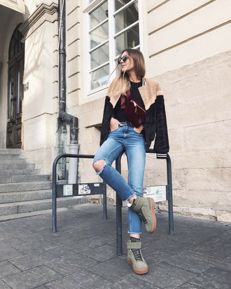 jacket tumblr fuzzy jacket denim jeans blue jeans ripped jeans boots winter boots sunglasses