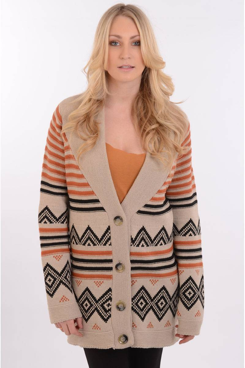 Mona Chunky Knit Cardigan in Beige