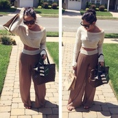 pants,top,tan,knitted sweater,shirt,crop tops