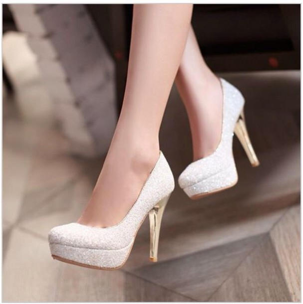 Shoes White Gold Heels White High Heels Cute Prom