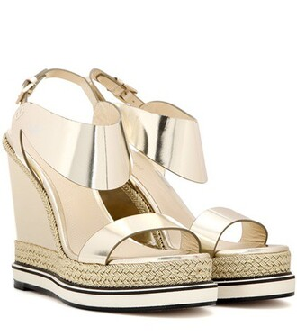 metallic sandals wedge sandals leather gold shoes