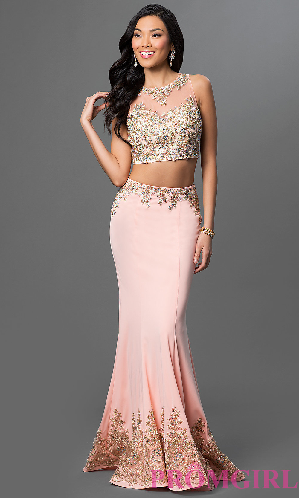 Two Piece Floor Length Dress With Lace Accents
