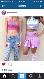 skirt,90s style,american apparel,style,purple,tennis skirt,socks,tube socks,pink,knee high socks,shirt,halter top,halter crop top,halter neck,crop tops,clueless,90's fashion,holographic,top,crop,jeans,ripped jeans