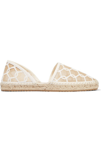 embroidered mesh espadrilles white shoes