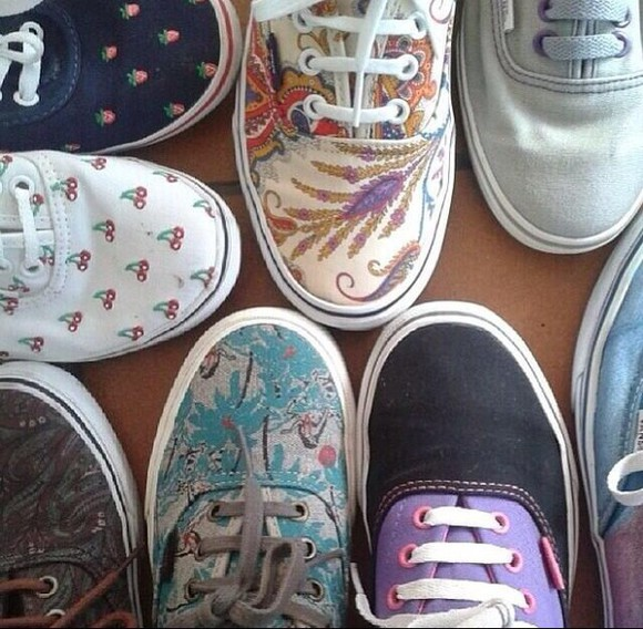 shoes cherry white cherries shoess shoees vans vans of the wall vans sneaker grey gray