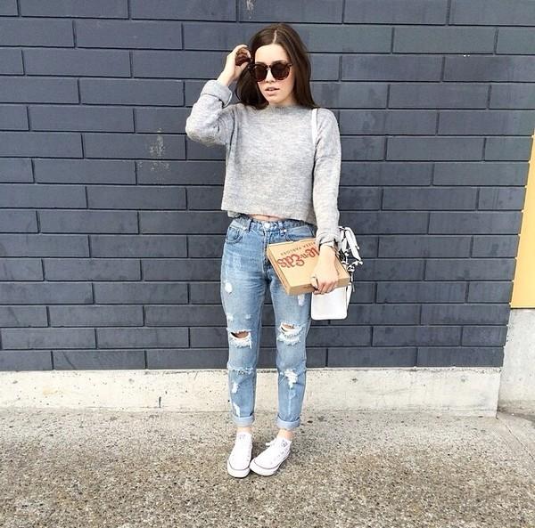 jeans ripped jeans cuffed cuffed jeans crop cropped cropped jeans boyfriend jeans sweater