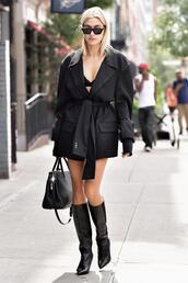 jacket,blazer,blazer dress,all black everything,boots,hailey baldwin,model off-duty,nyfw 2017,ny fashion week 2017