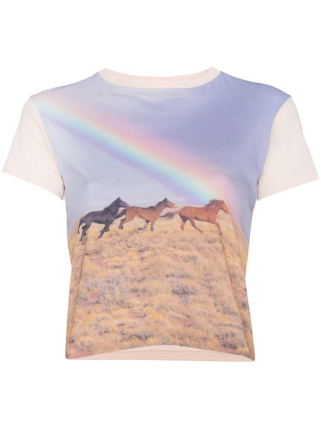 Re/Done rainbow women cotton print top