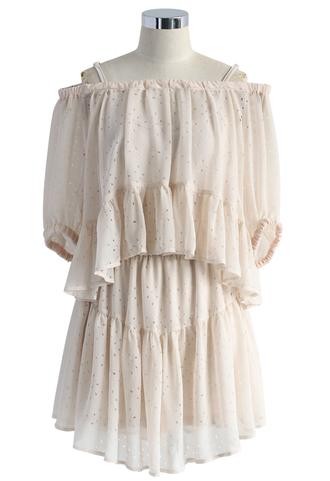 dress beige ruffle chiffon dress off the shoulder