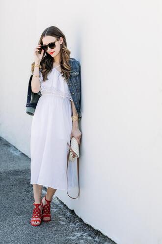 dress tumblr midi dress white dress summer dress jacket denim jacket denim sandals sandal heels high heel sandals red sandals bag shoes jeans