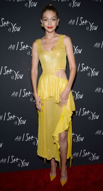 dress yellow yellow dress pumps cut-out cut-out dress gigi hadid model off-duty shoes