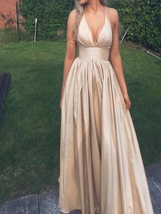 dress beige satin silk silky maxi dress long dress plonge