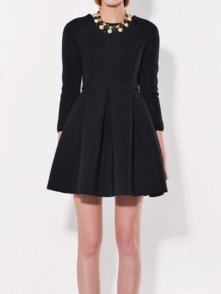 9833de7d77 Long Sleeve Slim Dress with Skater Skirt in Black