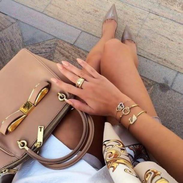 shoes bag purse handbag gold nude bows