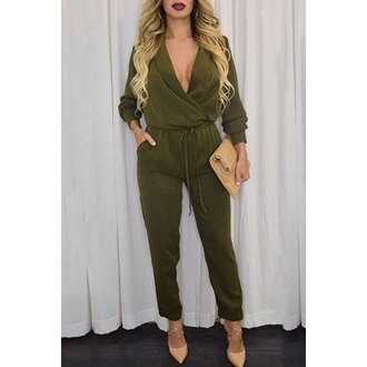 jumpsuit army green plunge v neck rose wholesale purse date outfit classy fashion