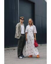 dress,maxi dress,floral dress,sneakers,bag,sunglasses