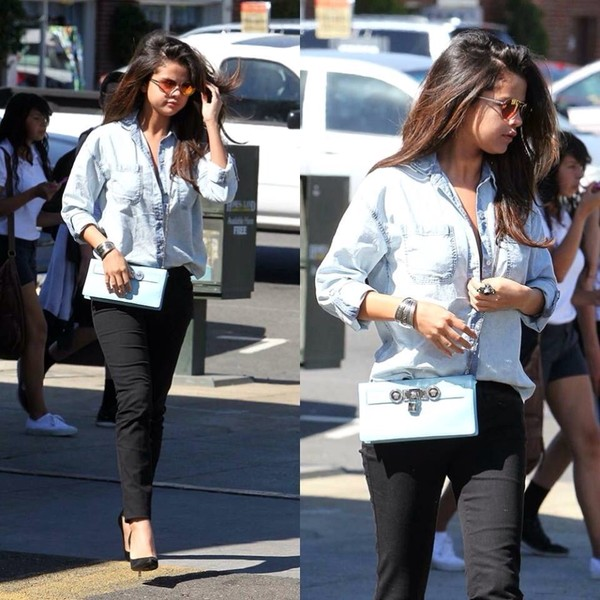 jeans selena gomez bag blouse sunglasses