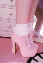 shoes,pink,pastel,kawaii shoes,pastel platforms