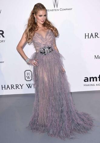 dress gown prom dress wedding dress paris hilton cannes feathers