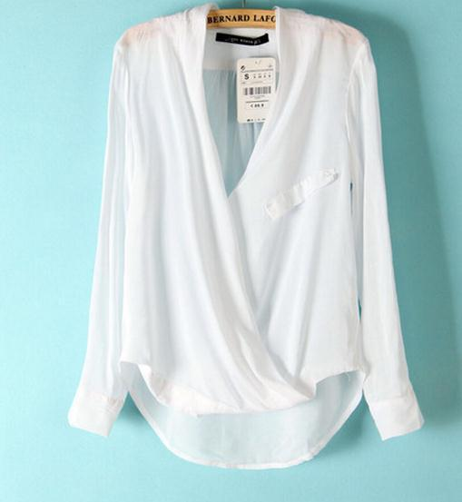 Deep V irregular cute chiffon shirt / ianlaynedesigns