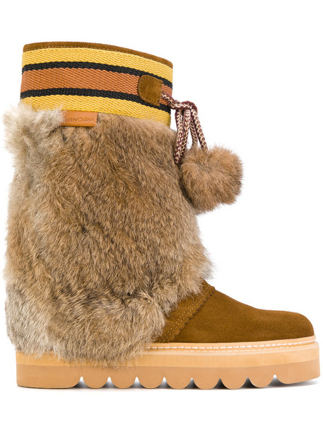 See by Chloe fur women moon leather brown shoes