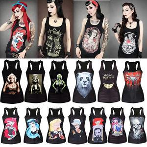 Women print stretchy black singlet gothic racerback tank top vest t