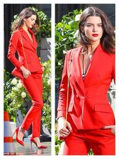 pants,bag,red pants,blazer,red bag,pumps,pointed toe pumps,kendall jenner,celebrity style,celebrity,spring outfits