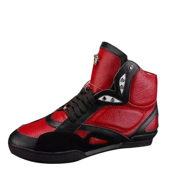 shoes, versace red leather high_top sneakers - Wheretoget
