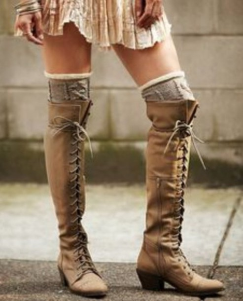 Shoes: beige shoes, lace up boots, tall boots, boots with laces ...